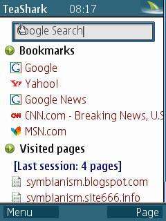 TeaShark Mobile Browser pada Samsung M3510